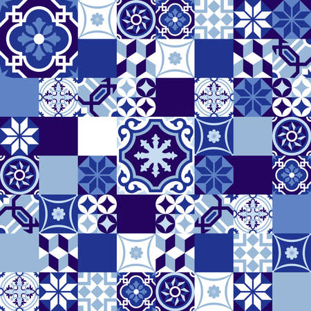 Blue indigo seamless pattern in patchwork style, traditional ceramic mosaic tile decoration. EPS10 vector.