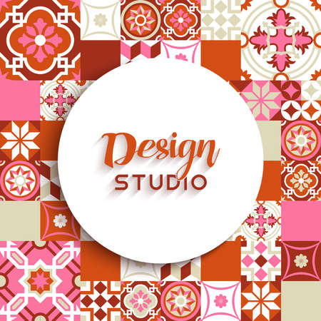 mosaic floor: Design studio label badge template illustration with red floor ceramic mosaic tile background decoration. EPS10 vector.