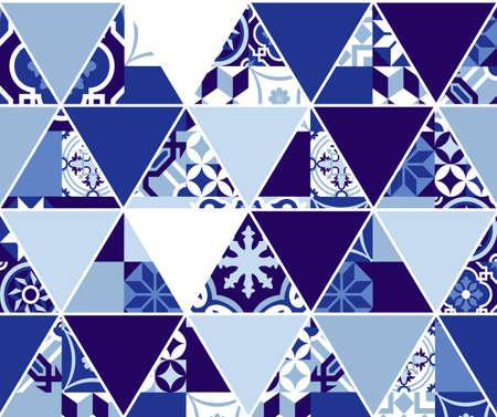 mosaic tiles: Blue indigo seamless pattern, geometric triangle mosaic tiles in classic Portuguese art style. EPS10 vector.