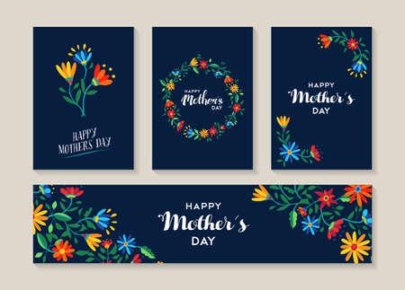 día de madres feliz, conjunto de flores de primavera ilustración plantillas listas para usar como etiquetas de regalo o tarjeta evento especial. EPS10 del vector.