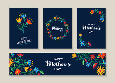 Happy mothers day, set of spring flowers illustration templates ready to use as gift label or special event card. EPS10 vector.