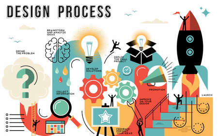 Innovation design process infographic style guide showing the steps to launch your work or business project. Modern flat line art illustrations ideal for web or template. EPS10 vector. Stock Illustratie