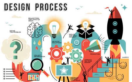 Proces projektowania Innowacja przewodnik infografika stylu przedstawiający kroki do uruchomienia prac lub projekt biznesowy. Nowoczesne ilustracji sztuki płaska linia idealny do sieci lub szablonu. Wektor eps10. Ilustracje wektorowe