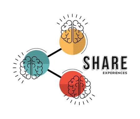 Modern concept illustratie van de hersenen. Deel ervaringen, kennis, herinneringen en informatie. EPS10 vector.
