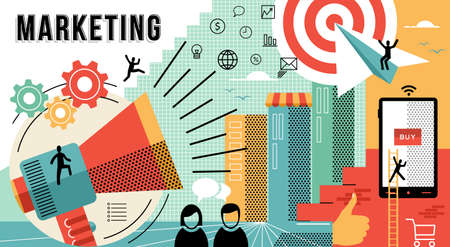 Online marketing business illustratie met moderne ontwerpen in vlakke lijn art stijl laten zien hoe je werk doelen te bereiken. EPS10 vector.