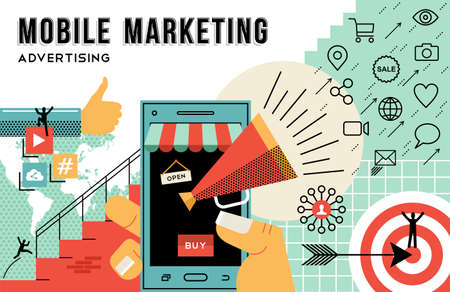 Mobile marketing concept illustration, achieve your business goals in advertising. Flat art outline style elements related social media and ecommerce web technology. EPS10 vector.