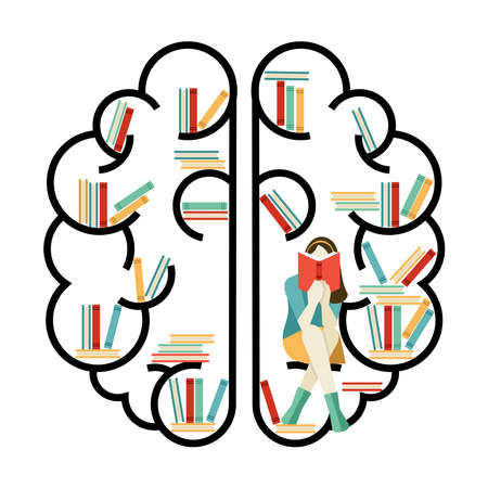 books library: Concept illustration of brain in flat line art style with library books and girl reading inside. EPS10 vector.