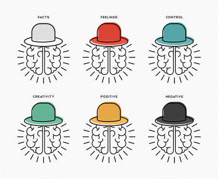 Six thinking hats brainstorming concept design, human brains wearing colorful hat in line art style.