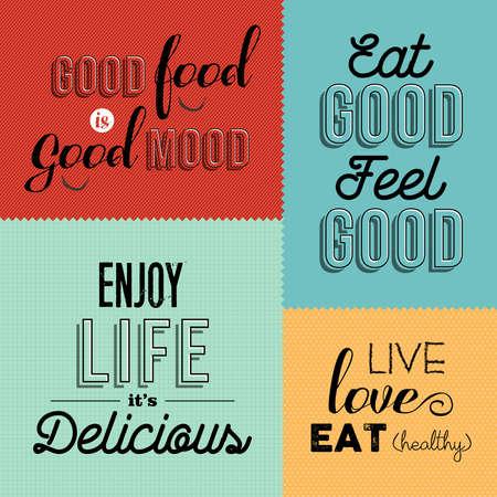 Conjunto de citas de comida vintage en diseños coloridos ideales para restaurantes o negocios gourmet. Ilustración de vector