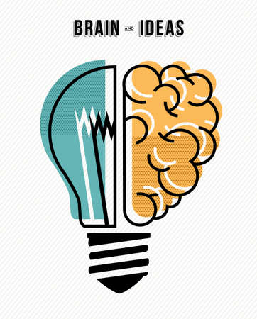 business innovation: Brain and ideas, innovation at work business concept design in flat line art modern illustration.