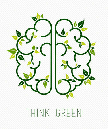 think green: Think green concept design, simple human brain in line art style with nature elements and plant leaves. Illustration