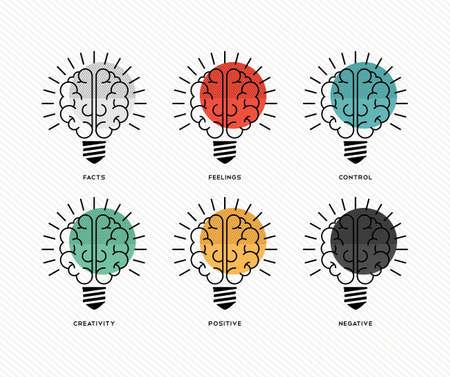 Zes denkhoeden conceptontwerp met de menselijke hersenen als gloeilampen in kleurrijke moderne lijn art stijl.