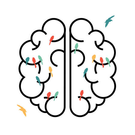 Human brain in simple line art style with colorful bird shapes inside, free your creative imagination concept design. Ilustração