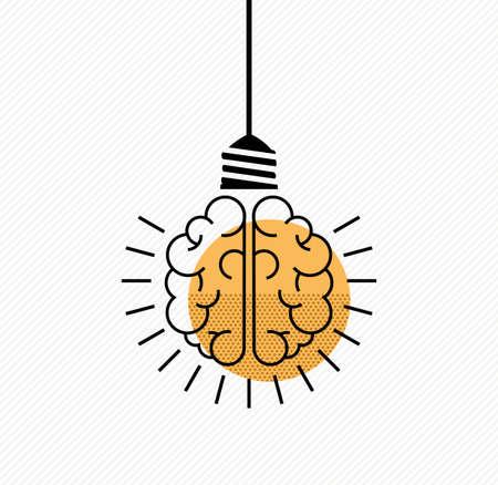 bright ideas: Bright ideas simple concept design. Human brain as light bulb lamp in clean modern line art style.