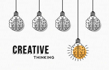 Modern creative thinking concept design, human brains in black and white with colorful one getting an idea. Иллюстрация