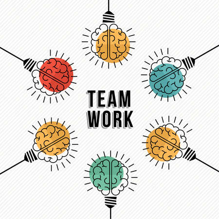 Modern teamwork concept design, colorful human brains in light bulb lamps working together as business team.