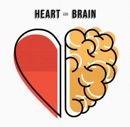 O coração e o cérebro trabalham como projeto de conceito da equipe, ilustração moderna da linha plana arte. Ilustración de vector