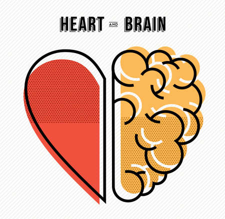 Heart and brain work as team concept design, flat line art modern illustration.