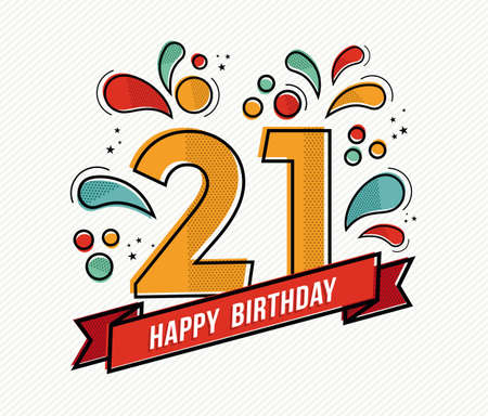 adult birthday party: Happy birthday number 21, greeting card for twenty one year in modern flat line art with colorful geometric shapes. Anniversary party invitation, congratulations or celebration design. EPS10 vector.