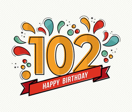 2nd century: Happy birthday number 102, greeting card for hundred two year in modern flat line art with colorful geometric shapes. Anniversary party invitation, congratulations or celebration design. EPS10 vector. Illustration