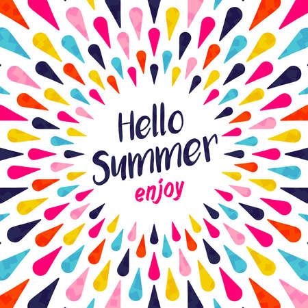 Hallo Sommer Schriftzug Hintergrund, Illustration, Design, Urlaub Konzept mit bunten Dekoration genießen. Sommerzeit-Party Einladung, Spaß Typografie Grußkarte oder Poster. EPS10 Vektor.