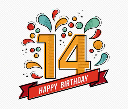 14: Happy birthday number 14, greeting card for fourteen year in modern flat line art with colorful geometric shapes. Anniversary party invitation, congratulations or celebration design. EPS10 vector. Illustration