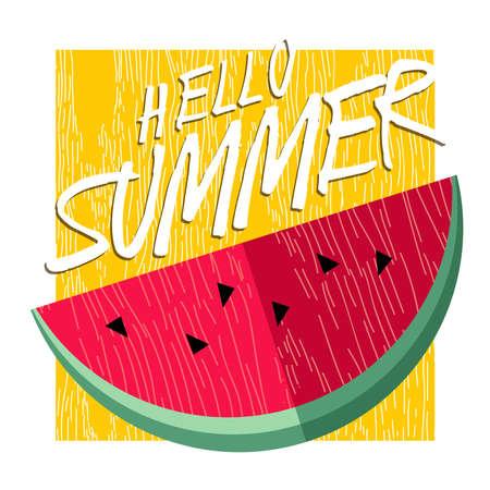 frutas divertidas: Hola diseño del fondo de las letras de verano con la sandía, el concepto de alimentación saludable fruta ilustración. Invitación de la fiesta del verano, tarjeta de felicitación de la tipografía de la diversión o un cartel. EPS10 del vector.