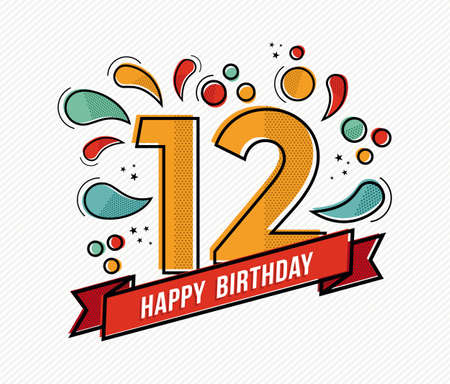 Happy birthday number 12, greeting card for twelve year in modern flat line art with colorful geometric shapes. Anniversary party invitation, congratulations or celebration design. EPS10 vector.