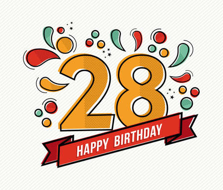 adult birthday party: Happy birthday number 28, greeting card for twenty eight year in modern flat line art with colorful geometric shapes. Anniversary party invitation, congratulations or celebration design. EPS10 vector.