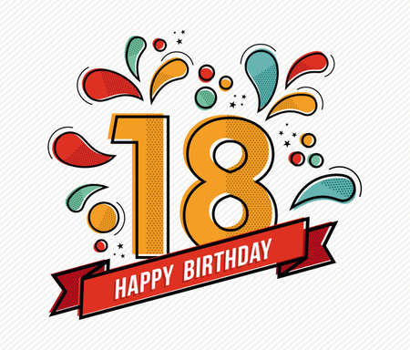 Happy birthday number 18, greeting card for eighteen year in modern flat line art with colorful geometric shapes. Anniversary party invitation, congratulations or celebration design. EPS10 vector.