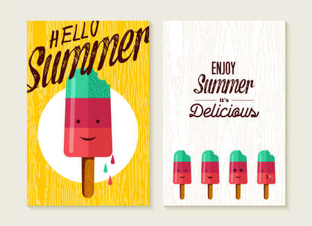 popsicle: Hello summer concept lettering set of greeting card backgrounds with happy ice cream. Cute popsicle emoji, beach party invitation or typography poster. EPS10 vector.