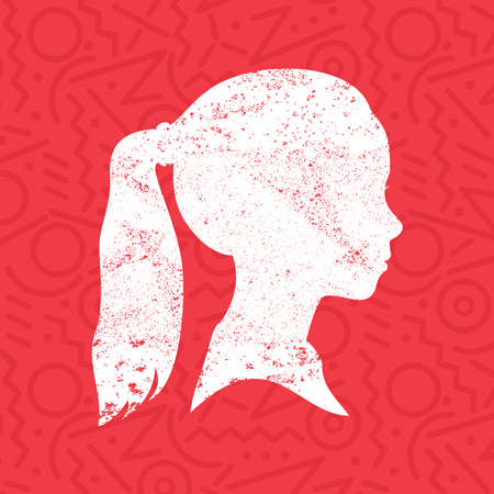 ponytail: Little girl face profile silhouette with ponytail hairstyle in grunge texture paint over colorful red background, kid head illustration concept. EPS10 vector.