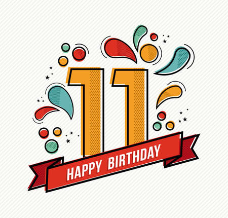 eleventh birthday: Happy birthday number 11, greeting card for eleven year in modern flat line art with colorful geometric shapes. Anniversary party invitation, congratulations or celebration design. EPS10 vector.