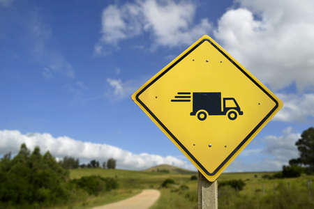tree service business: Fast shipping service everywhere, efficient package delivery concept. Road sign with truck icon in rural landscape, includes copy space.