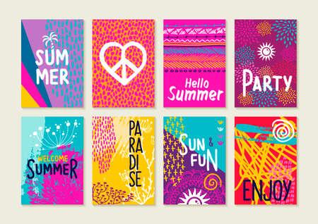 Sada šťastných letních pozvánek na pozvánky. Kreativní ručně kreslené ilustrace a textové citace pro štítky, plakáty atd. Ilustrace