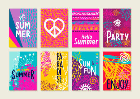 Set of happy summer party invitation greeting cards. Creative hand drawn vacation illustrations and text quotes for label, poster, etc. Ilustração