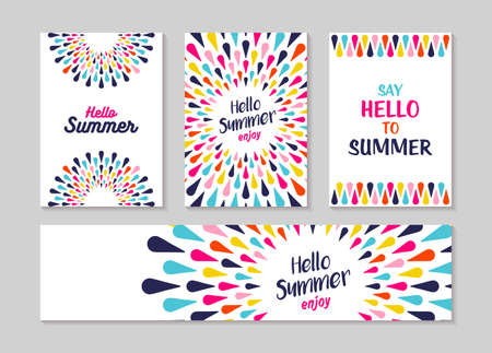 Hello summer lettering label or greeting card set designs, enjoy vacation concept with colorful decoration. Summertime party invitation or fun typography poster. EPS10 vector. Vettoriali