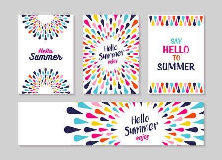 Hallo Sommer Schriftzug Etikett oder Grußkarte Set Designs, genießen Urlaub Konzept mit bunten Dekoration. Sommerzeit-Party Einladung oder Spaß-Typografieplakat. EPS10-Vektor.