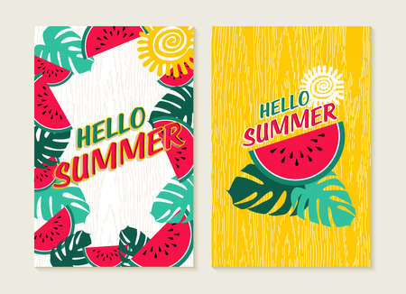 summer fruit: Hello summer set of greeting card lettering design with colorful tropical jungle art and watermelon fruit. Happy quote poster or beach party invitation. EPS10 vector.