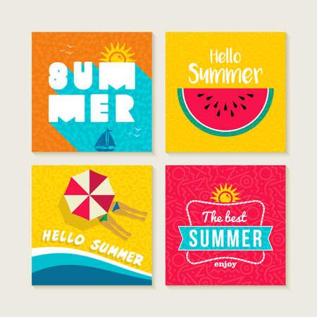 Hallo zomervakantie set van gelukkige illustraties met tekst quotes. Kleurrijke vruchten ontwerp, parasol en zon elementen voor de wenskaart, uitnodiging partij of poster. EPS10 vector. Stock Illustratie