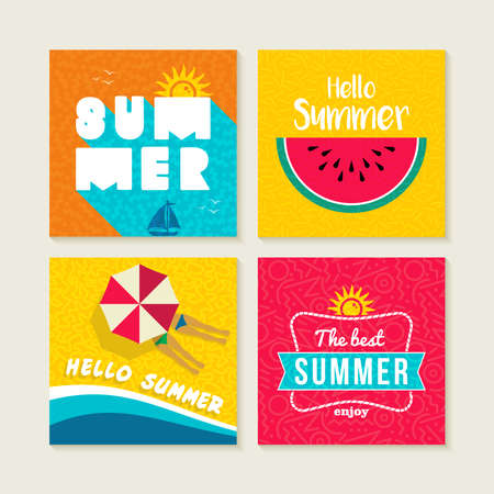 Hello summer vacation set of happy illustrations with text quotes. Colorful fruit design, beach umbrella and sun elements for greeting card, party invitation or poster. EPS10 vector.