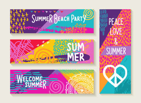 Set of colorful summer designs, happy elements and text quotes for beach party invitation, vacation greeting card, holiday poster. EPS10 vector.