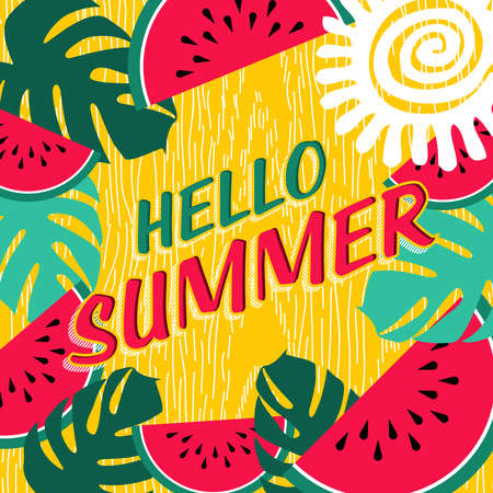 summer fruits: Hello summer lettering design with colorful tropical jungle art and watermelon fruit. Happy quote poster, beach party invitation or vacation greeting card concept. EPS10 vector. Illustration
