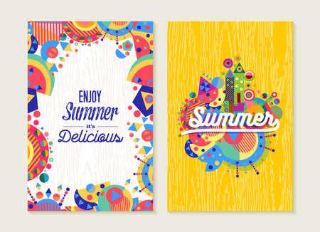Geniet van de zomer letters label wenskaart set design, gelukkig vakantie concept met kleurrijke decoratie. EPS10 vector.