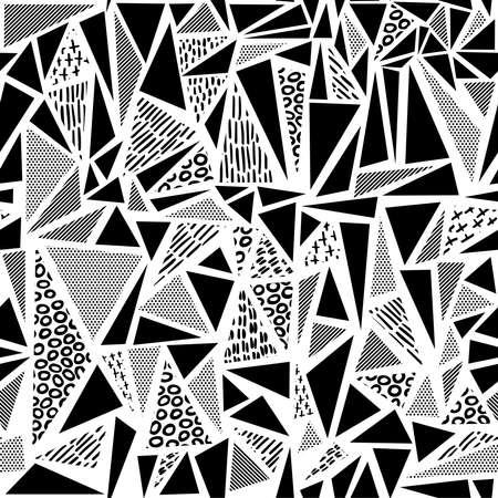 Vintage bezszwowe wzór w czerni i bieli z retro kształtu geometrycznego kształtu trójkąta, stylu lat 80. memphis. Idealny do tła sieci web, drukowania lub tkaniny. Wektor EPS10. Ilustracje wektorowe