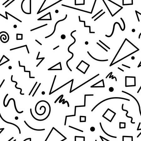 Retro naadloos patroon in zwart-wit met geometrische de manierstijl van manierjaren 80s Memphis. Ideaal voor webachtergrond, afdrukken of stoffen. EPS10 vector.