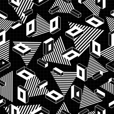 fabric art: Black and white retro seamless pattern with geometric shapes in 80s pop art fashion style. Ideal for web background, print or fabric. EPS10 vector. Illustration