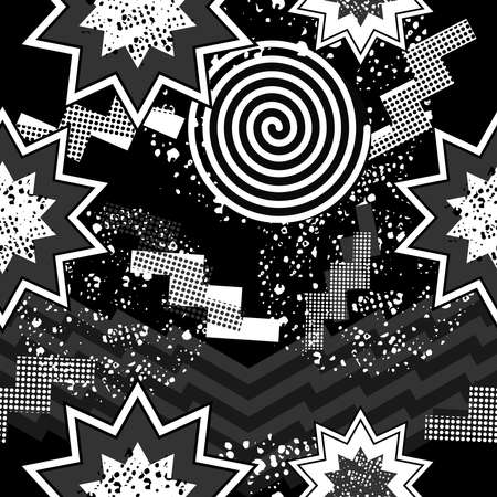 '80s: Black and white retro seamless pattern with abstract pop art print, 80s fashion style. Ideal for web background or fabric. EPS10 vector.