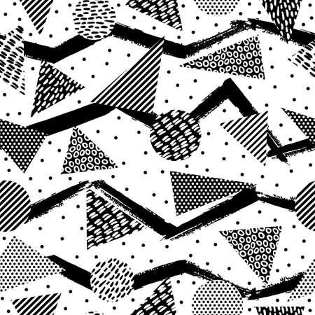 Retro 80s cru style de mode memphis pattern illustration en noir et blanc. Idéal pour le web fond, impression ou tissu. vecteur EPS10. Vecteurs