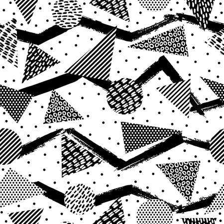 repeat pattern: Retro vintage 80s memphis fashion style seamless pattern illustration in black and white. Ideal for web background, print or fabric. EPS10 vector.